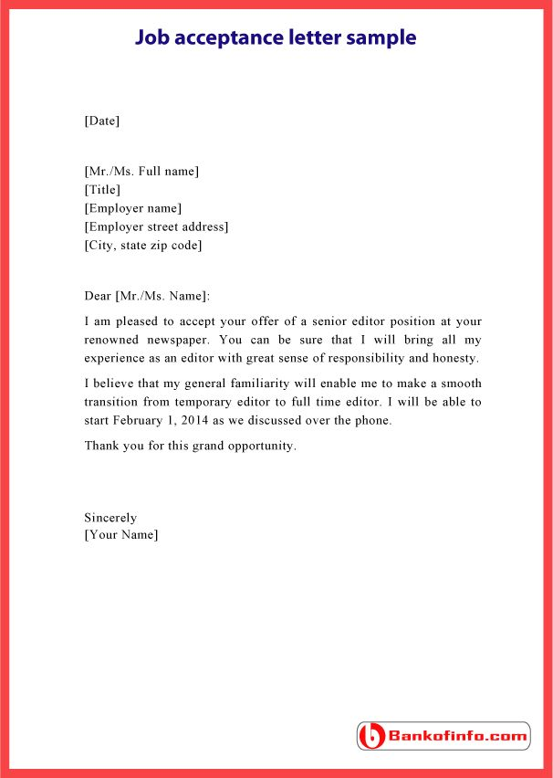 10 best Sample Acceptance Letters images on Pinterest Acceptance - copy job offer letter format pdf