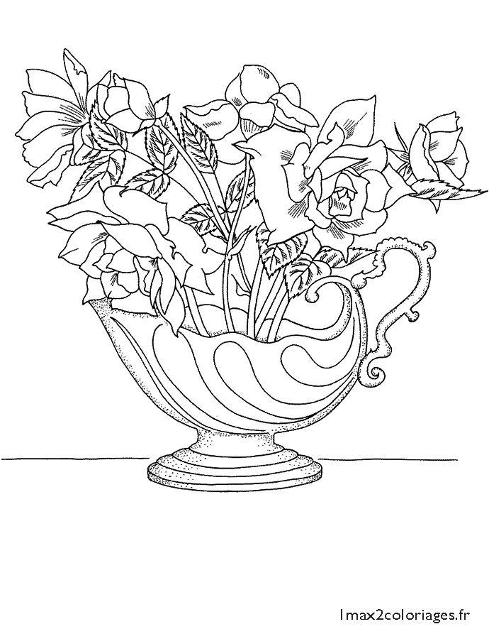 para colorir   Coloriage fleur, Coloriage, Bouquet de roses