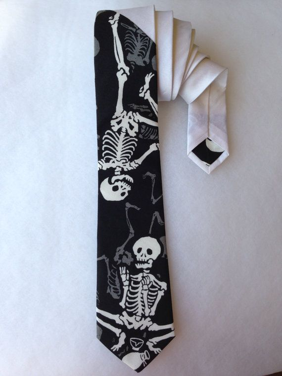 Skeleton Tie  White by WatfordTies on Etsy