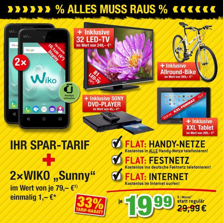 "Handyvertrag inklusive 2x Wiko Sunny + 32"" TV + XXL Tablet + City-BIKE Handy mit Vertrag"