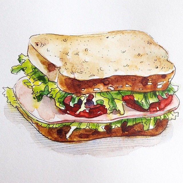 #monthofart day 28 - sandwich #drawnbyksu #drawing #watercolor #sandwich #sketch #sketchbook #food