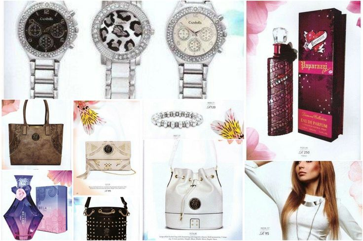 Perfumes, earrings, necklaces, watches, rings, bracelets and handbags.