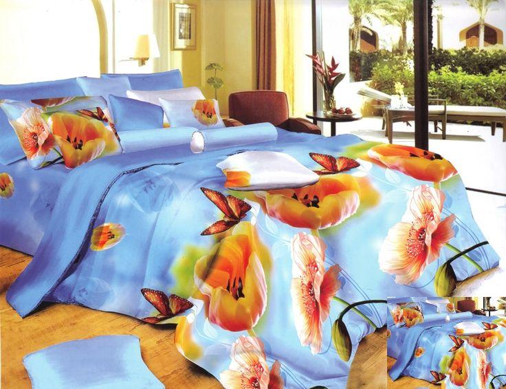 Pościel do sypialni w kolorze niebieskim w kwiaty