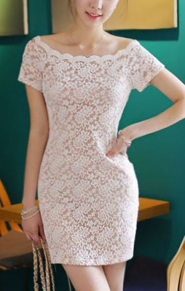 Love! Love! Love! White Lace Wave Neckline Short Sleeves Off-shoulder Lace Dress #White_Lace #Party_Dress #Fashion