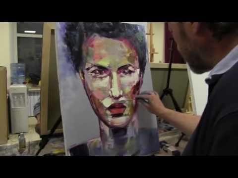 Abstrakt porträt malen für anfänger. Porträt malen lernen mit Sacharow. Einfach ölmalerei techniken - YouTube