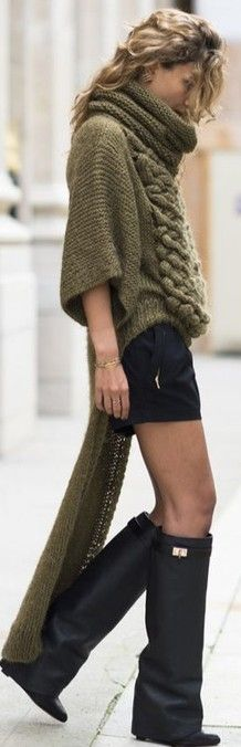 sweater and snood...cashmere shorts.... knitted style