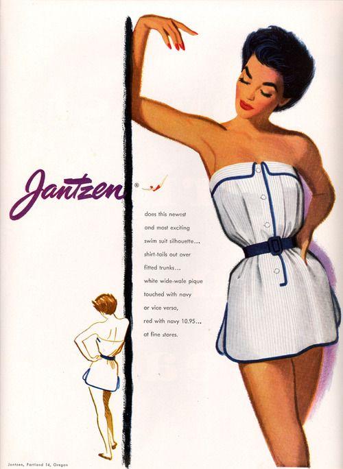 Jantzen Swimsuits vintage ad for shirt-tail bathing suit, 1952