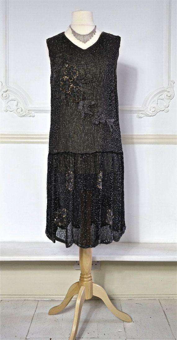 jaren 1920 kralen jurk met pailletten Detail - katoenen mousseline