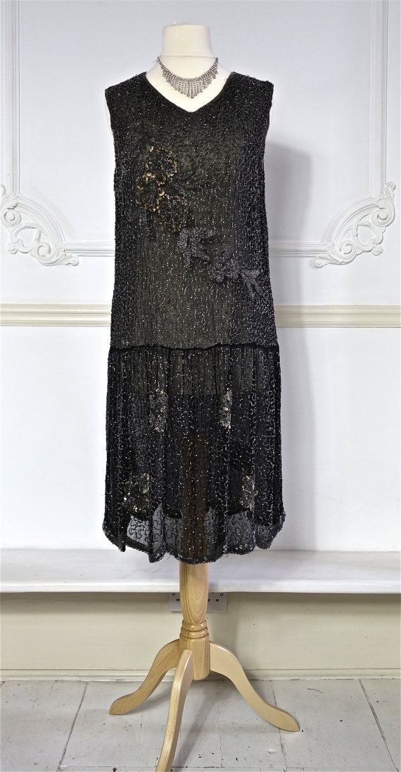 1920s Beaded Dress with Sequin Detail  Cotton by PenniesLondon