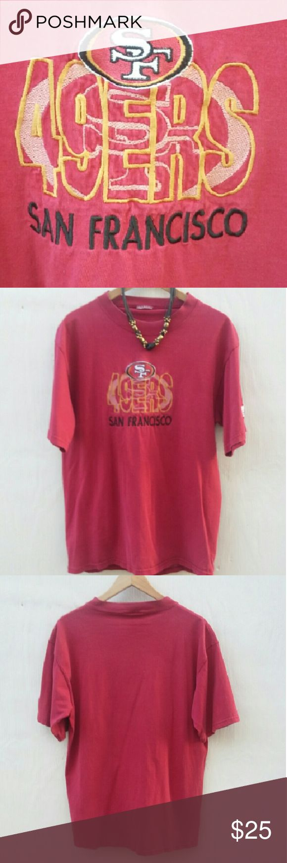 """49ers deluxe embroidered tee in excellent cond! Really a good-looking tee. The entire front logo is embroidered! The soft, thick 100 percent cotton is flawless, but it has been washed. Good--it's pre-shrunk for sure.   The size tag has been removed, and it has a 44"""" chest. The tag in pic 4 is the local manufacturer.  Machine wash inside out to protect the stitching. This is the only 49ers tee you can find here with the beautiful embroidery.  Because Grumpy Cat is a-whinin'... for the Niners…"""