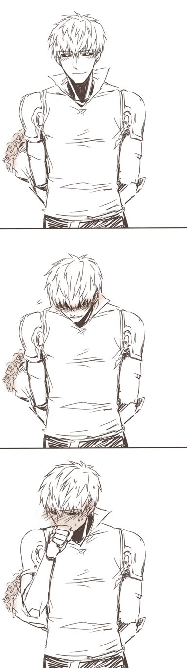 Genos want to give you a bouquet of flowers but is too shy