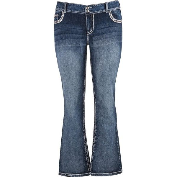 maurices Plus Size - Denim Flex ™ Medium Wash Slim Boots Jeans (66 AUD) ❤ liked on Polyvore featuring jeans, medium sandblast, plus size, sequin jeans, slim bootcut jeans, embellish jeans, mid-rise jeans and zipper jeans