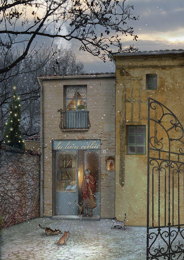 A la lumière d'hiver. Pen + soft pastels + Photoshop. #illustration #art #poetry #illustrationart #drawing #bettinabaldassari #light #december #winter #philippejaccottet #inspiration #cats #peace #christmas