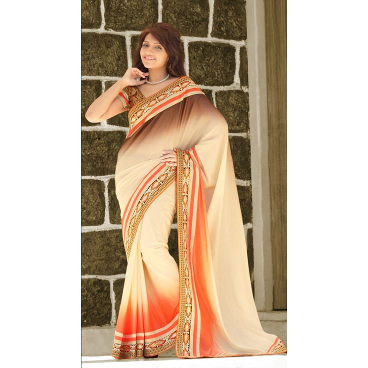 Cream and Brown Crepe Designer #Saree With Blouse- $54.89