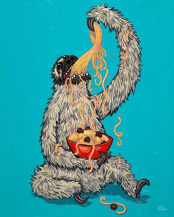 Sloth Eating Spaghetti 8x10 Giclee Print by joehavasy on Etsy, $16.00