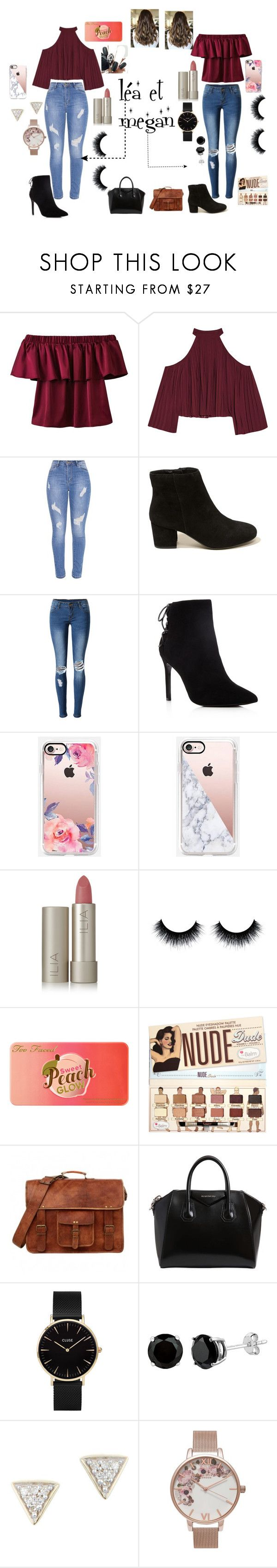 """""""day in the life with léa"""" by megan-simard on Polyvore featuring mode, W118 by Walter Baker, Hollister Co., WithChic, Charles David, Casetify, Ilia, Too Faced Cosmetics, Givenchy et CLUSE"""