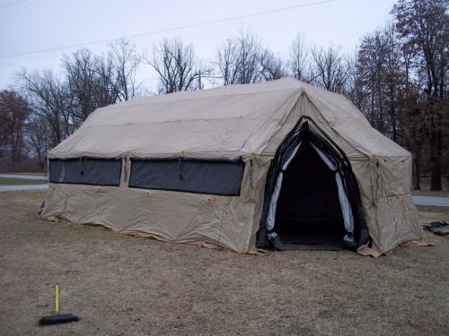 MILITARY-TENT-DRASH-ARMY-SURPLUS-14x30-size-4-HUNTING-CAMPING-TAN