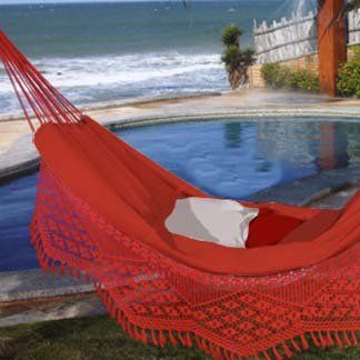 Those Brazilians even nap with flair. This vivid red cotton hammock includes an intricate hand-woven fringe edge like no other. Soft stretchy cotton is luxuriously soft. Big enough for two, in case you're feeling social.