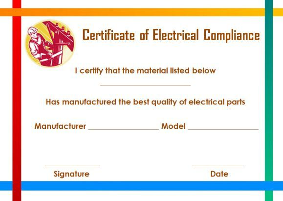 Certificate Of Compliance Template For Electrical Printable Certificates Templates Compliance