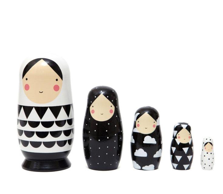 Nesting dolls zwart-wit