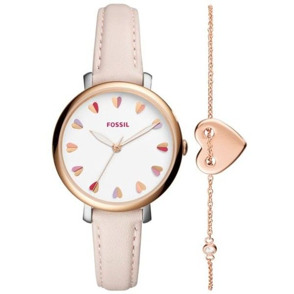 Fossil  Rose Gold-Tone Valentines Day Watch Gift Set ($125) ❤ liked on Polyvore featuring jewelry, watches, pink, holiday jewelry, fossil gift set, pink jewelry, pink heart jewelry and fossil jewellery