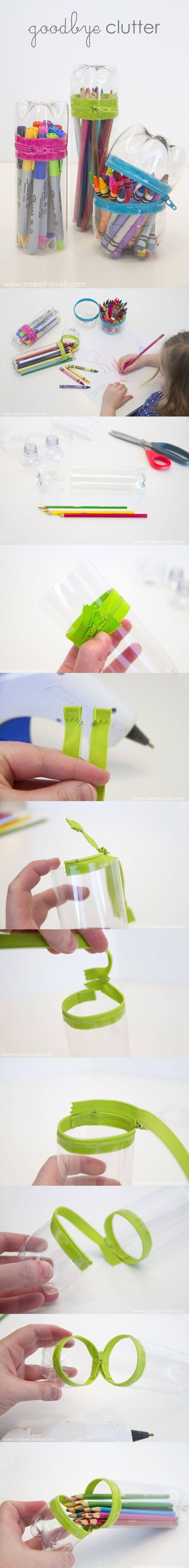 No-Sew Zipper Cases From Plastic Bottles - makeit-loveit.com - Estuches reciclando botellas plástico