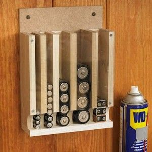 DIY Drop Down Battery Dispenser ~ a great way to keep them organized to know which ones should be used first and when to restock. Super idea for your RV too. Even better if it's attached to the wall by hooks, not screws, so you could take it with you in a moment if evacuation were necessary.  BRILLIANT...