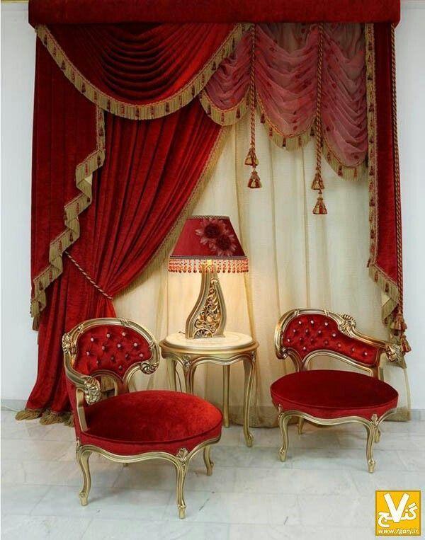 off set treatment with red velvet draperies, swag, fringe & tassels