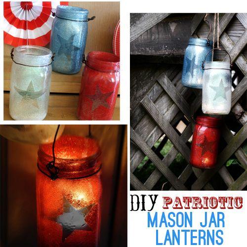 DIY Patriotic Mason Jar Lanterns: Idea, Masons, Dollar Stores, Patriotic Mason, Patriots Mason, Mason Jars Lanterns, Mason Jar Lanterns, Diy, Crafts