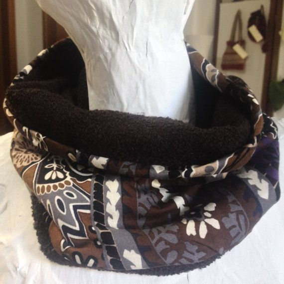 Neckwarmer cowl scarf Handmade brown double by PixiesFairies