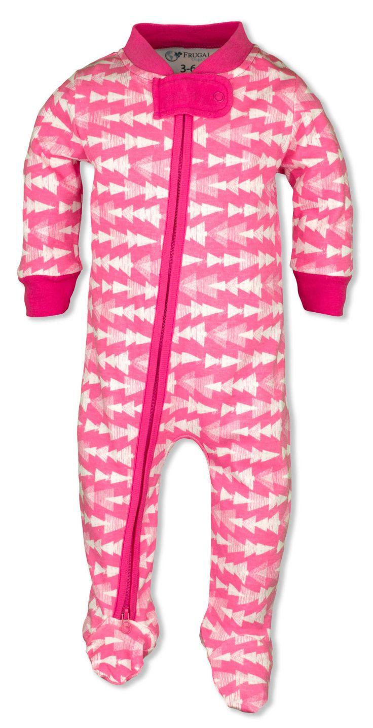 Baby Girl Pajamas Pink Arrows Zipper Sleeper