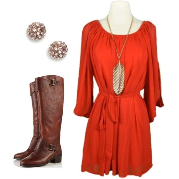 super cute: Dreams Closet, Orange Dresses, Red Dresses, Burnt Orange, Autumn Style, Fall Outfits, Brown Boots, The Dresses, Black Tights