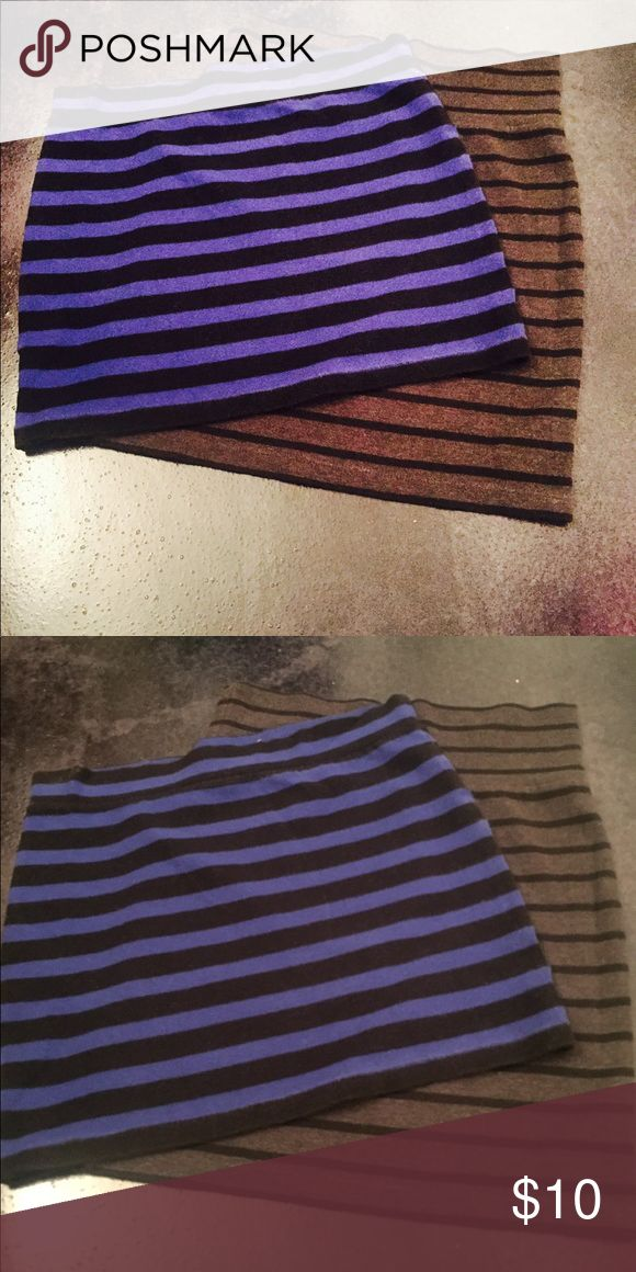 STRIPED SKIRTS 💥🔥 Two bundled slim fit skirts. Stretchy and body con style. Royal blue and black is more mini than the dark blue and gray. Price is for both size for both is medium. Forever 21 Skirts Mini