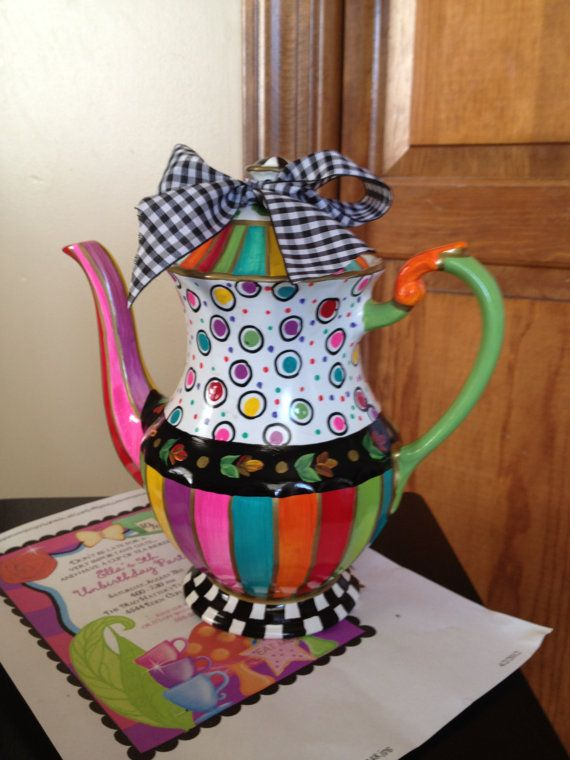 Custom Hand Painted Teapot/Coffee pot by paintingbymichele on Etsy, $85.00