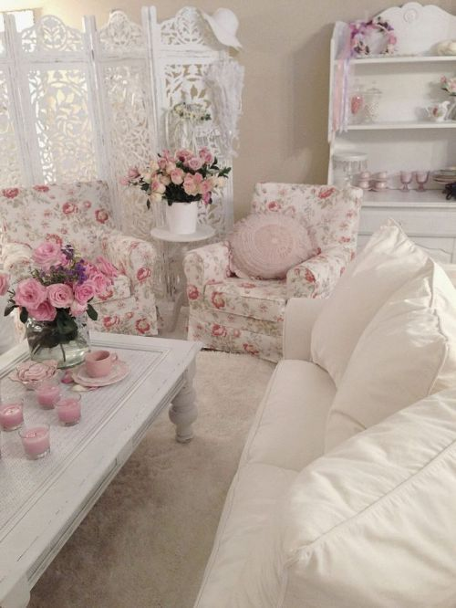 romantic and shabby chic white and pink living room