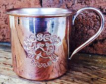 Copper Moscow Mule Mug 14 oz. Solid Copper in Non Hammered Polished Finish with Classic Logo MTD-14-SM-L