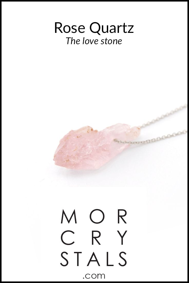 Rose quartz crystal necklace from MOR CRYSTALS.