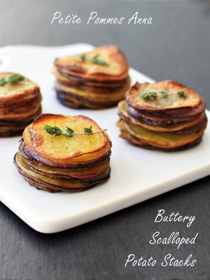 Petite Pommes Anna - Buttery Scalloped Potato Stacks (dairy-free, gluten-free, vegan) - tender herbed layers on the inside, crispy buttery roasted on the outside - fun & easy to make! @MeltOrganic @godairyfree