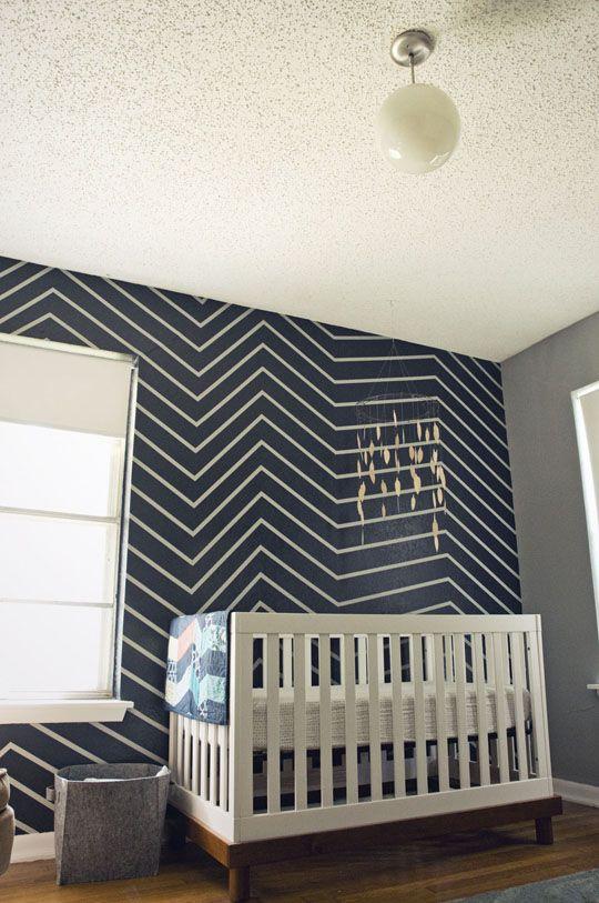navy chevron wall: Wall Patterns, Hands Paintings Wall, Navy Chevron, Boys Nurseries, Boys Rooms, Baby Boys, Chevron Wall, Baby Rooms, Accent Wall