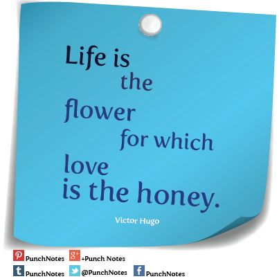 *Life is...* A Victor Hugo love quote.