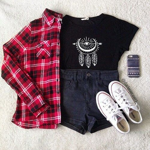 BACK TO SCHOOL 4 (You can wear jeans instead of shorts ) Quote  · Habille  SwagTenues PolyvoresTenues TumblrMode AdolescenteAdo FilleVestimentaireCourtes