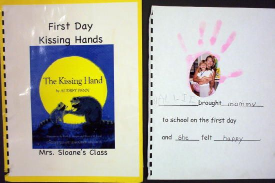 I cried when the teacher read this to use at open house but ken and I both gave her kissing hands first day :)