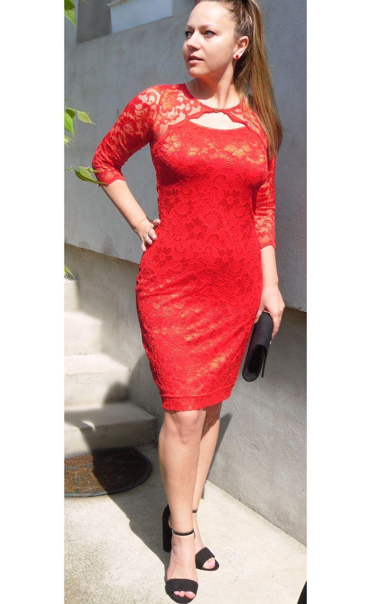 Csipkés ruha , piros ruha - Újdonságok - Női Ruha Webáruház, Alkalmi ruha webshop tunika, Felső