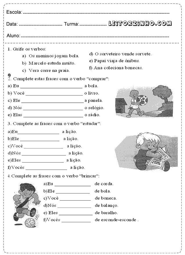 Grife os verbos e complete estas frases com o verbo comprar