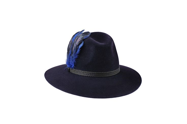 The Festival Fedora Collection | Willow Fedora | Midnight Blue | Black Braid & Feather Band www.penmayne.com #fedora #hats #accessories