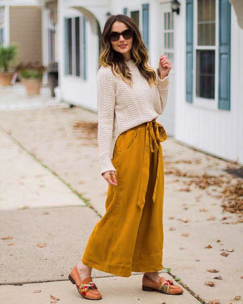 1d815b61856 pants tumblr culottes mustard yellow pants wide-leg pants sweater nude  sweater sunglasses shoes loafers