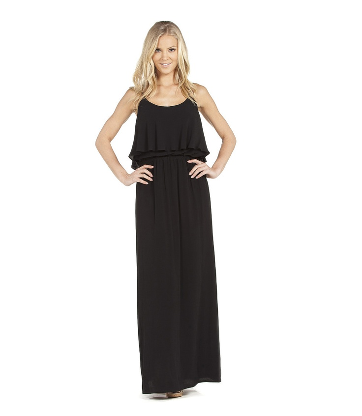 Ruffle Top Maxi in Black - you don't even need anything under it, since it has several layers at top!Fashionista Wanna B, Clothing Style, Clothing Jewelry, Maxis Dresses, Fashion Craze, Dresses Skirts, Ruffles Tops, Ruffles Maxis, Tops Maxis