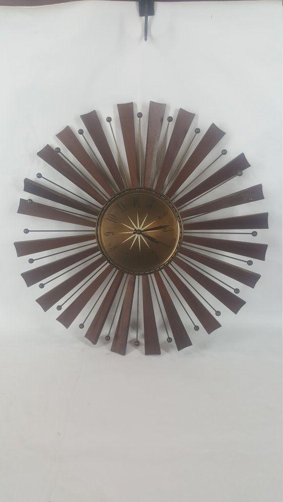 CLEARANCE Seth Thomas mid century sunburst clock with issues