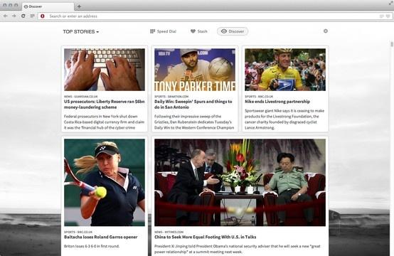 Pantalla Descubrir mostrando historias resaltadas en la nueva  versión del navegador Opera (primera versión basada en Webkit) para Mac Os X