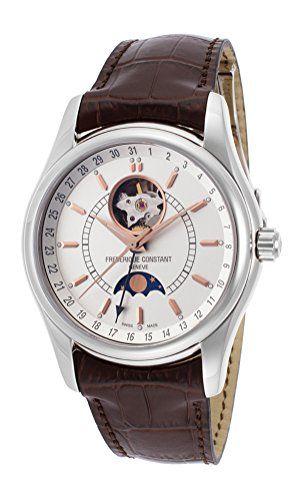 Frederique Constant FC-335V6B6 Men's Classics Moontimer Silver Dial Brown…